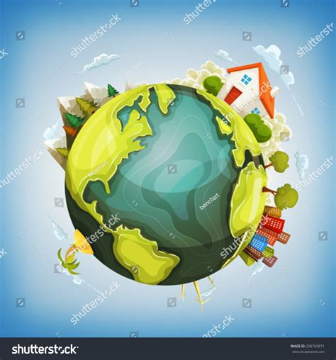 Addresses To Search On Earth Earth Planet With Home Nature And City Around Illustration Of A Design Earth