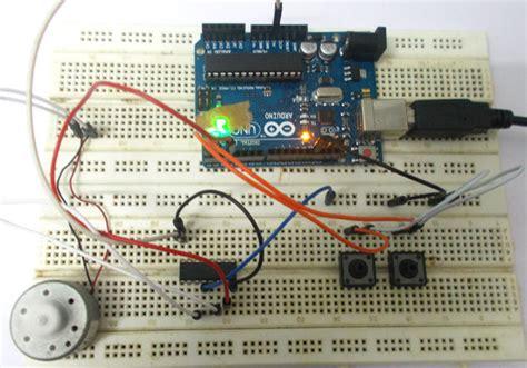 Hw Button Simple dc motor speed using arduino uno