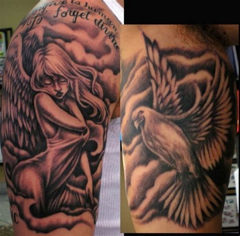 angel half sleeve tattoo ideas 15 gorgeous black and white tattoos