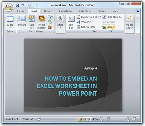 powerpoint tutorial worksheet embed an excel worksheet into powerpoint or word 2007