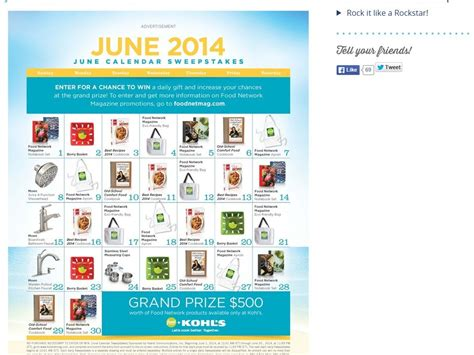 Food Network Magazine Sweepstakes - food network magazine june calendar sweepstakes
