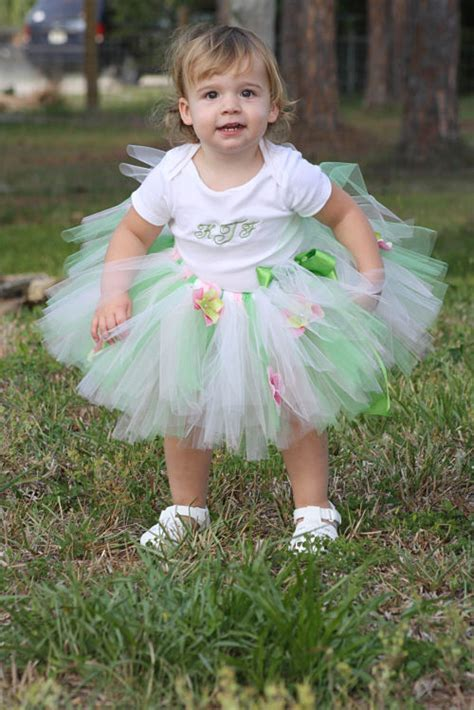 Dress Tutu Flower Green Pink pink white and green tutu skirt with flowers