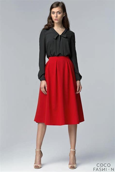 retro style flared light pleats midi skirt with pockets