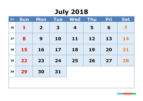 Calendar 2018 With Week Numbers Pdf Printable Calendar July 2018 With Week Numbers As Image