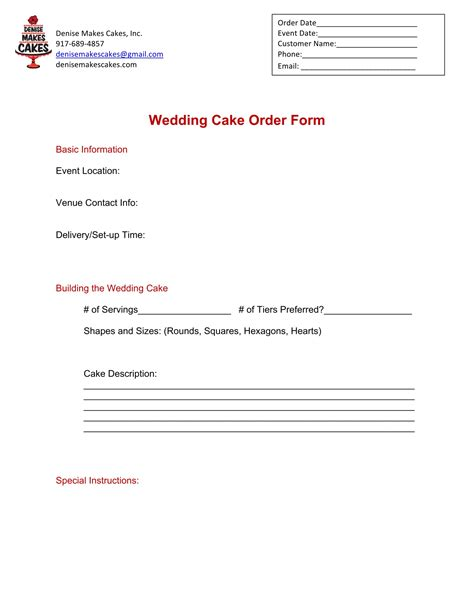 Wedding Cake Order by 14 Cake Order Forms Free Excel Pdf Format