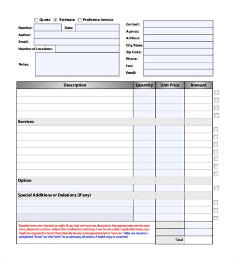 estimate invoice template estimate invoice template 7 documents in pdf word