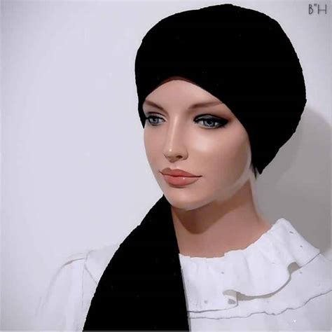 fitted scarf turban beret hat cap snood black