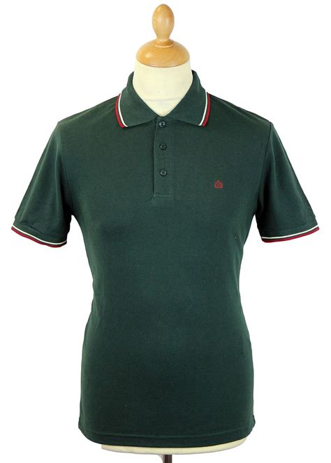 Id Card Haji Polos card merc mod retro mens tipped pique polo shirt in green
