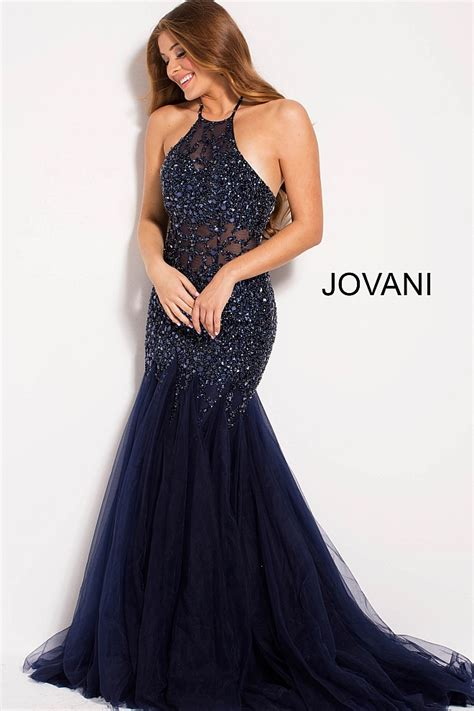 Navy Halter Neck Dress by Navy Fitted Embellished High Neck Mermaid Prom Dress