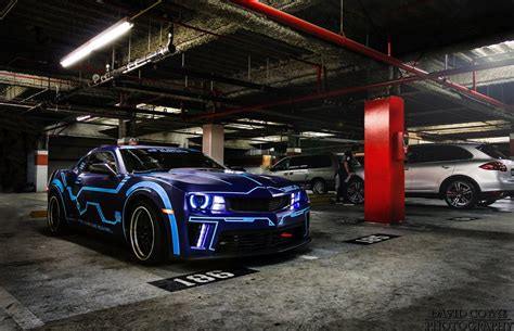 cool wrapped cars camaro electric blue car wrap and