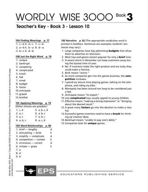 Wordly Wise 3000 Book 4 Lesson 7 Games Games World