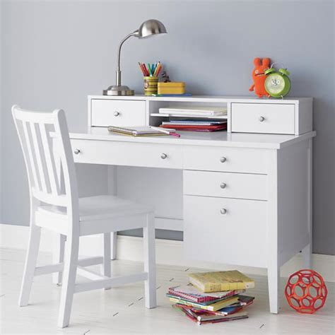 white wooden childrens desk desk chair white