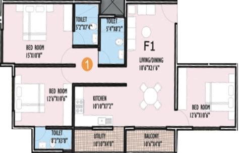 1300 sq ft apartment floor plan 1300 sq ft 3 bhk 3t apartment for sale in innovative