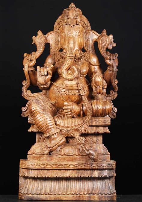 sold wood statue   hindu god ganesha  whh