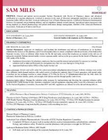 Pharmacist Resume Templates by Pharmacist Resume Exle 2016