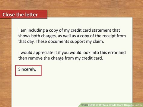 Letter To Credit Card Company To Dispute Charge How To Write A Credit Card Dispute Letter With Pictures