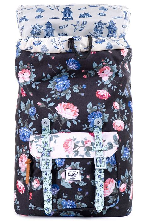 Original Herschel Dawson Xs Backpack Black Mini Floral herschel america mid volume backpack black floral pink buy at skatedeluxe