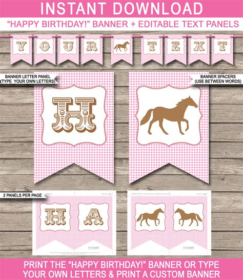 printable editable banner horse or pony party banner template birthday banner