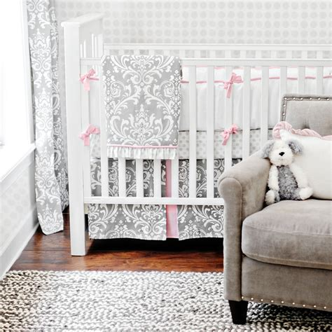 Zig Zag 3 Piece Crib Bedding Set In Gray Gender Neutral Grey Crib Bedding