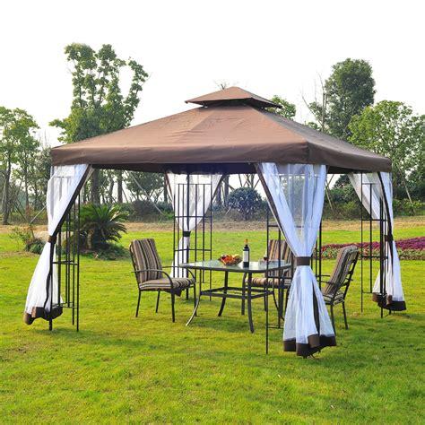 gazebo uk outsunny 3x3 m metal gazebo w mosquito net black coffee