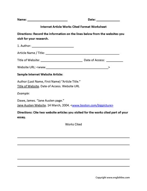 format worksheet mla format worksheet wiildcreative