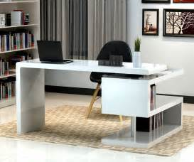 Modern Desk Furniture Stunning Modern Home Office Desks With Unique White Glossy Desk Plus Open Bookshelf With Black