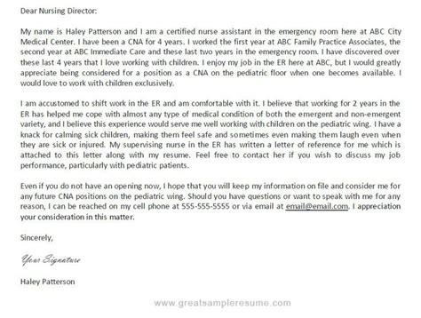 Certified Nursing Assistant Resume No Experience certified nursing assistant cover letter sle no