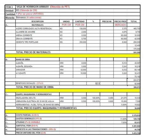 020 ejemplo de presupuesto mano de obra materiales y presupuesto