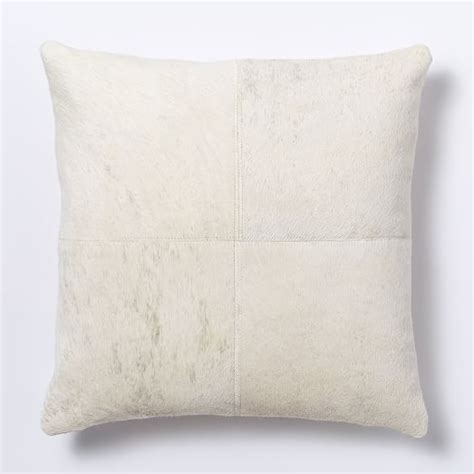 cowhide solid pillow cover ivory west elm