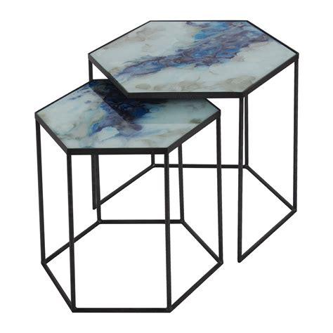 nesting side table set buy notre monde hexagonal nesting side table set cobalt