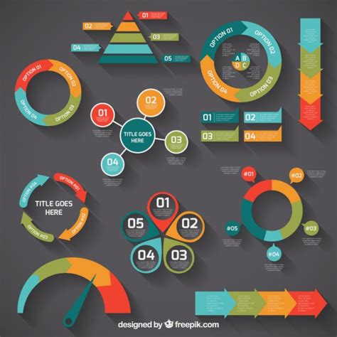 graphic diagram colorful infographic diagrams vector free