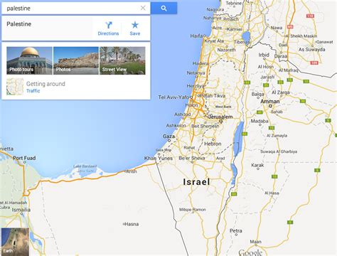 israel google palestine does not receive label on google maps