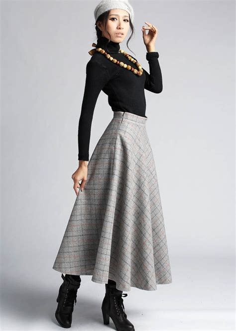 7 Favorite Winter Skirts by Plaid Wool Skirt Winter Maxi Skirt 412 By Xiaolizi On Etsy