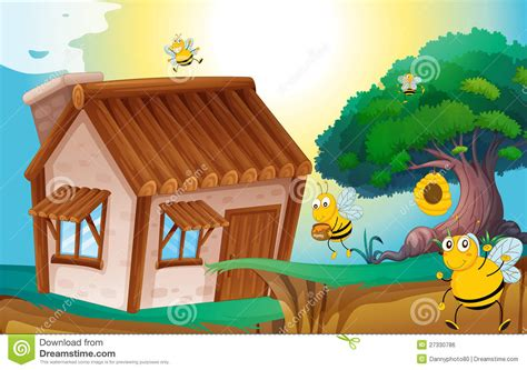 honey bee house plans honey bee and house royalty free stock image image 27330786