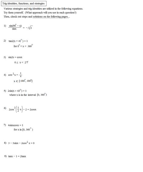 worksheet on trigonometric identities worksheet trig identities worksheet caytailoc free printables worksheets for students