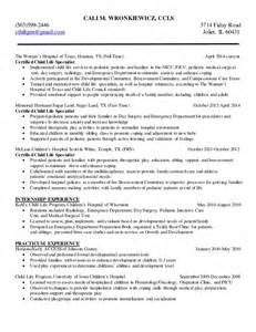 Child Specialist Sle Resume by Cali Wronkiewicz Child Resume