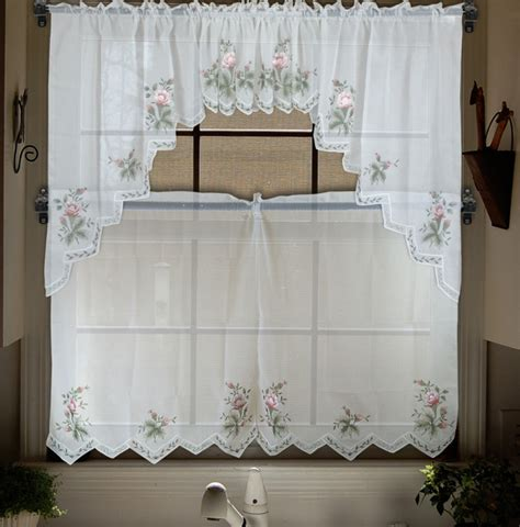 tier curtains for bedroom aliexpress com buy embroidery valance sheer short tulle