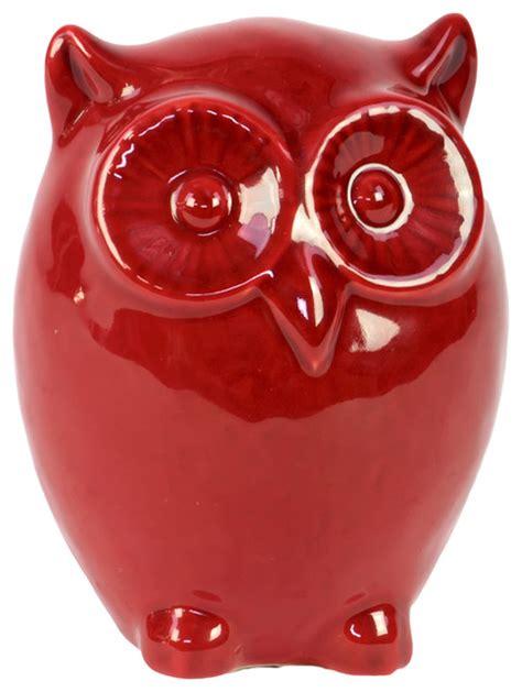Round Bathtubs by Red Ceramic Owl Figurine Farmhouse Decorative Objects