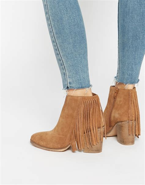 asos asos suede western fringe ankle boots at asos
