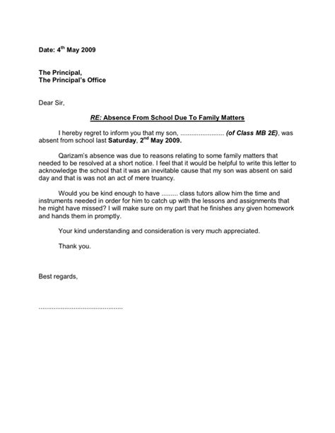 Sle Letter To School Principal For Absence Due To Illness Absence Letter