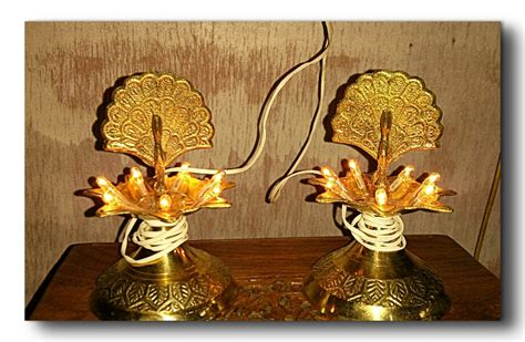 home decor handicrafts peacock shaped brass electric diya pair online shopping