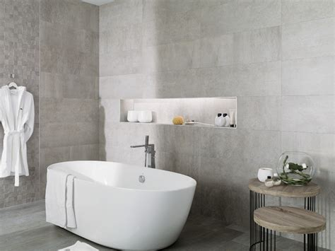 Cement Bathroom Tiles by Concrete Look Tiles Rodano Acero Industrial Bathroom