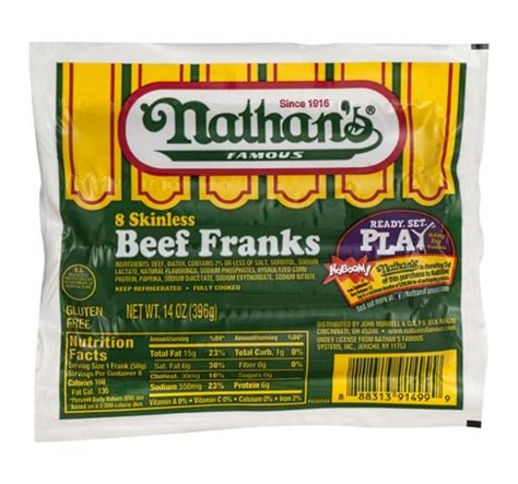 nathan s calories nathan s skinless beef franks 8 count hy vee aisles grocery shopping