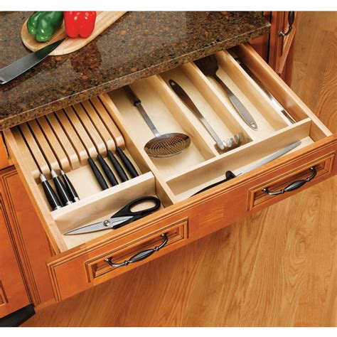 Kitchen Cabinet Organizer Drawers Drawer Organizers Wood Utensil Tray Drawer Inserts For