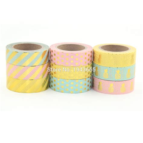 washi tape diy 2016 new 9x gold glitter sticky sticky washi tape