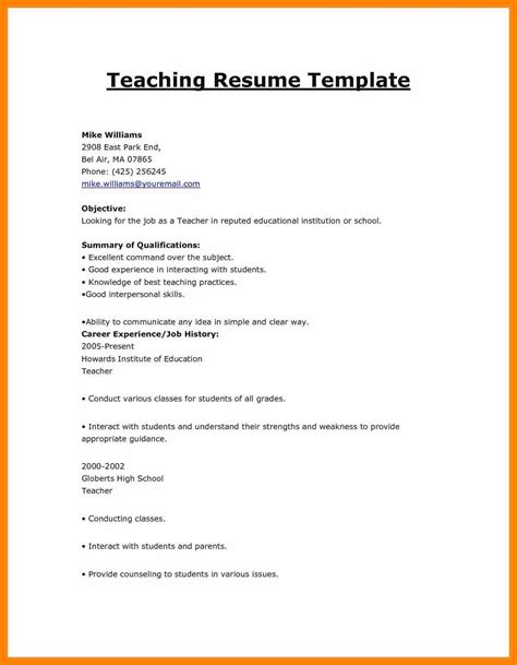 resume template for fresher teachers 13 cv format for freshers teachers prome so banko