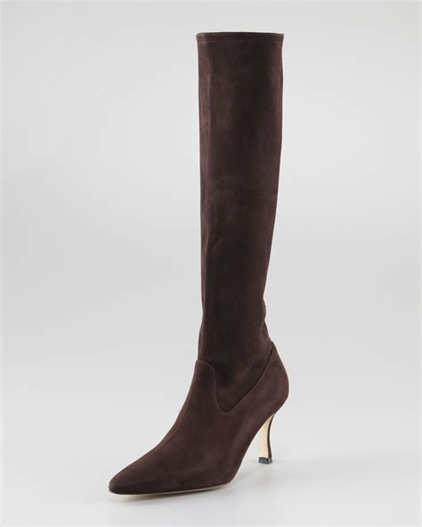 manolo blahnik pascalare stretch suede boot in brown