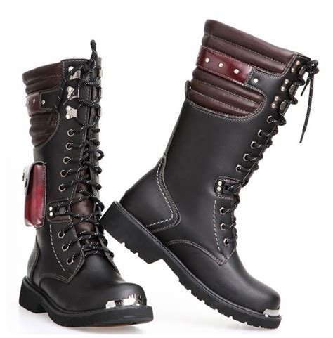 mens lace up biker boots steunk gothic military combat motorcycle pu leather