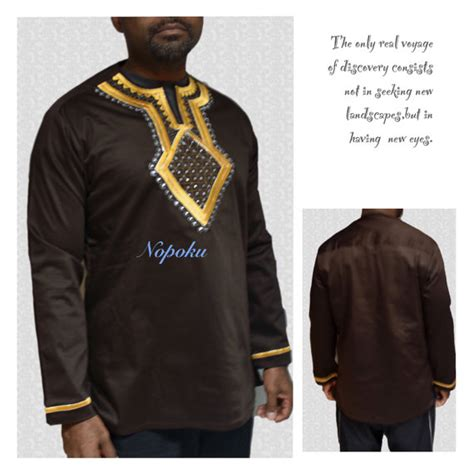 african kitenge shirts brown kaftan mens embroidery shirtsafrican print