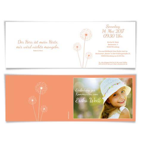 Einladungskarten Apricot by Einladungskarten Kommunion Pusteblume In Apricot